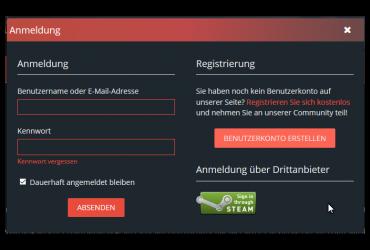Steam Login und Registrierung